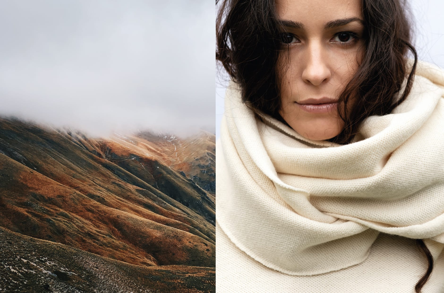FW 20 - Capture the fog - pure merino scarf naturally dyed MAGNOLIA